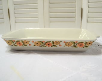 Vintage Capri Rectangular Baking Dish Orange Gold Daisy Serve N Store Stoneware Lasagna Pan Casserole Cookware Bakeware PanchosPorch