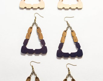 Triangle Doorknocker Earrings/ Bright Painted Wood Earrings/ Big Dipped Earrings