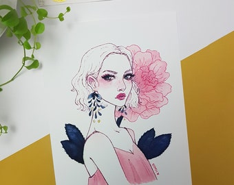 Dulcet | Art Print | Flower art, ink illustration, fashion ilustration, spring drawing, pink, n1mh