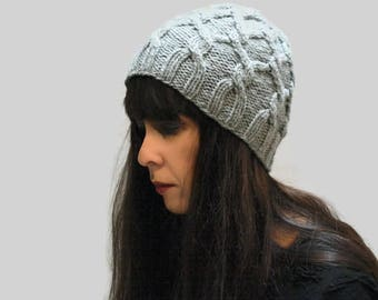 Gray knit cable hat for women/ alpaca gray knit hat/ winter women hat/ Christmas gift hat/ custom color hat/ gray knit beanie hat