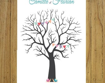Fingerprint tree wedding decor rustic, Garland Bunting, stationery, souvenirs