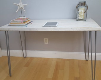 SALE!! Weathered White Desk, Modern Rustic Desk, Hairpin Legs, White, Office Desk Midcentury, Weathered, Beach Style, Industrial
