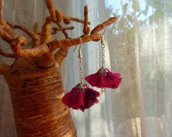 Vintage and silver plated fuchsia fabric Flower Earrings