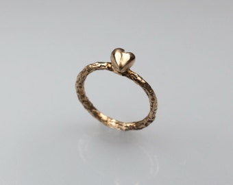 Heart shaped ring,  bronze ring, anniversary rings  for her,  promise rings heart, wedding ring guard, heart ring, valentines gifts
