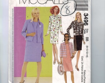 Misses Sewing Pattern McCalls 3496 Misses and Petite Dress and Lined Jackets Size 6 8 10 12 14 UNCUT  99