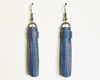 Recycled Vinyl Tassel Earrings - Blue & Purple Stripe