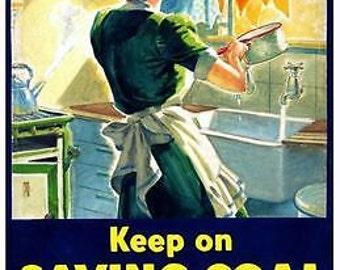 World War Two British Energy Saving Poster A3 Print