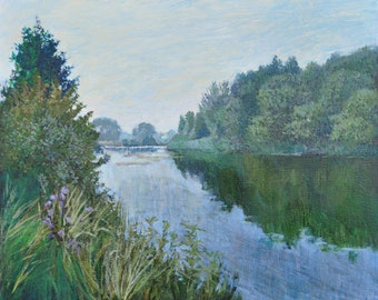 Tranquil Water, Oil Painting, Landscape Painting, Original, Canvas, Impressionism, River