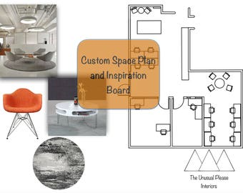 Items similar to interior design custom mood board furniture selection space plan for Personal shopper interior design