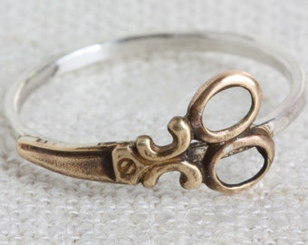 Mixed Metal (Sterling Silver and Oxidized Brass) Scissors Ring