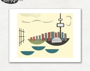 TORONTO, Modern Mid Century Abstract, Giclee Fine Art Print for the Home Decor