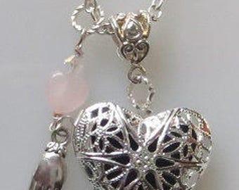 Aromatherapy Oil Diffuser Heart Locket, Hand Charm, Rose Quartz Heart, Swarovski Crystal, Necklace on Chain, Choose Length