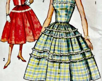 1950s Sundress and Short Jacket Pattern  SIMPLICITY 2498  1958 UNCUT, Factory-Folded Vintage Sewing Pattern  Bust 33