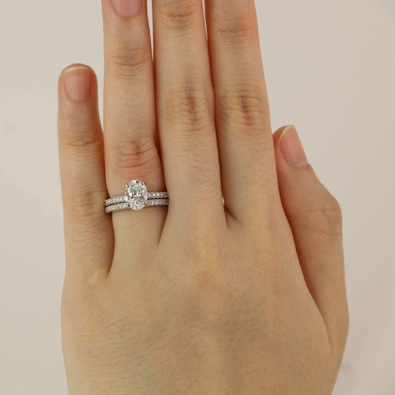 18 Ctw Oval Wedding Set Engagement Ring Solitaire Promise Diamond Stimulant CZ Sterling Silver