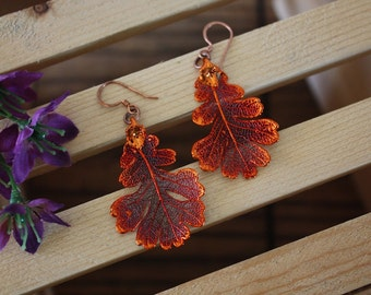 Oak Copper Leaf Earrings, Oak Leaf, Real Leaf Earrings, Copper, Lacey Oak Earrings, Nature, LESM190