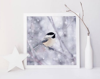 Winter Photo, Bird Art Print, Holiday Decor, Winter Animal Photography, Nature Art, Winter Wall Decor, Holiday Art, Chickadee in Snow No. 9