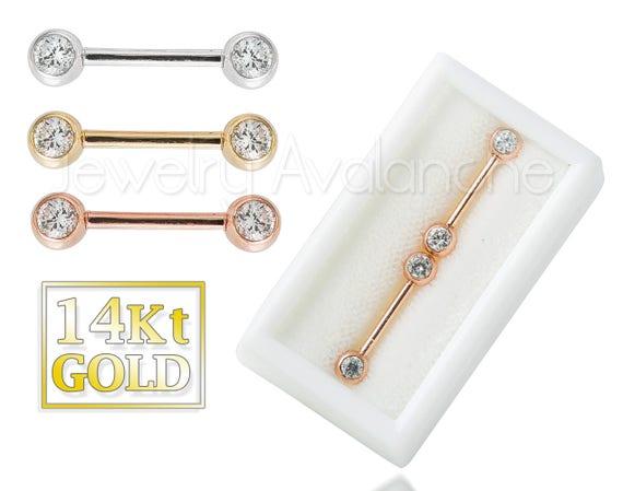 14Kt Gold Nipple Barbell Ring 14G Nipple Piercing Ring 14kt