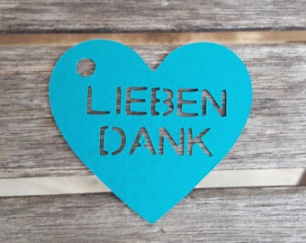 "10 tags/gift tag ""Love thanks"" other language possible"