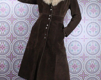 70's Suede TRENCH COAT Fur Collar // Chocolate Brown // Size Small
