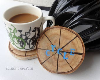 Cycle  Coasters Made with Reclaimed Birch Wood