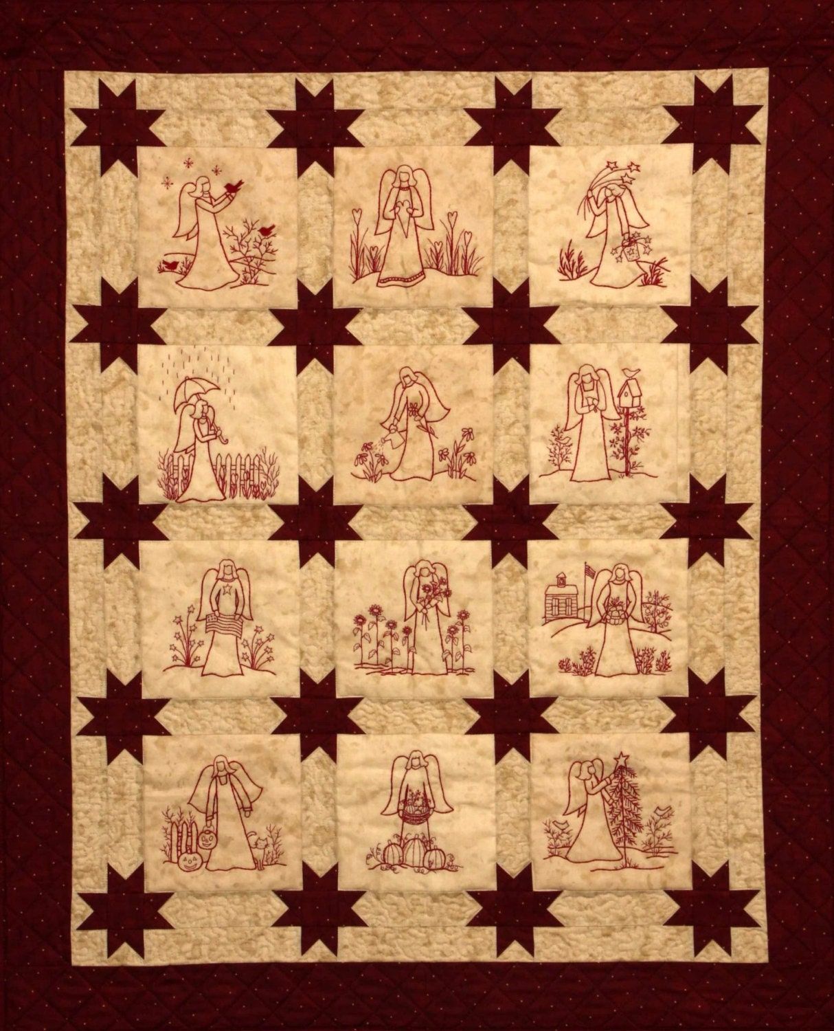 Redwork Angels Quilt Pattern - Redwork Hand Embroidery Blocks ...