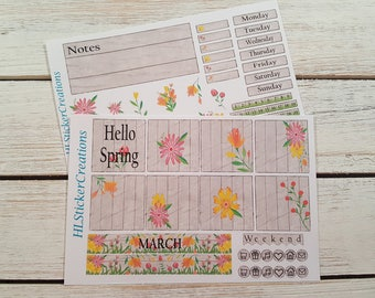 March Mini Happy Planner Weekly Kit, Spring, March, Wildflowers, Flowers, Garden