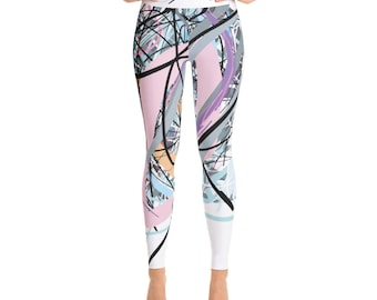 SGRIB Print Women's Fashion Yoga Leggings - xs-xl sizes - design number seventeen - on white