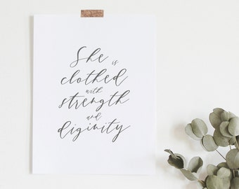 She Is Clothed With Strength And Dignity - Bible Verse Print - Proverbs 31:25 - Gift For Her - Gifts Under 20 - Frame Not Included