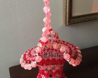 Safety Pin Easter Basket Pink Red Tramp Folk Art