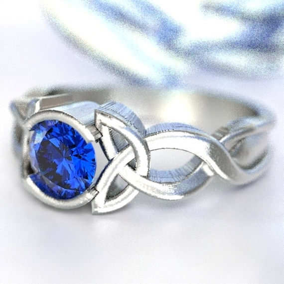 Celtic Blue Sapphire Ring With Trinity Knot Design in Sterling Silver, Made in Your Size CR-405b