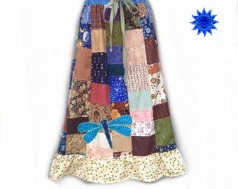 Patchwork skirt Hippie skirt, Dragonfly Boho Patchwork skirt women's Calico Patchwork Skirt plus size Skirt Handmade Hippie Patchwork Skirt