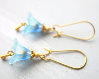 50% off SALE! Earrings, blue ombre and gold lucite flower dangle earrings 1