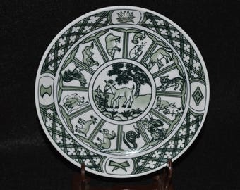 Chinese Astrology Plate, Year of the Goat, Porcelain Chinese Zodiac Plate, Chinese Horoscope Plate, Goat Themed China Plate White Green