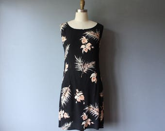 vintage 90s floral mini dress / black tropical crinkle dress / aline tank dress / medium / d42