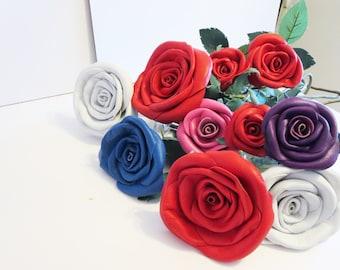 3rd Anniversary Gift, leaher roses, Black flower,Red Leather Rose, Wedding flower,Long Stem ropse,leather Flower