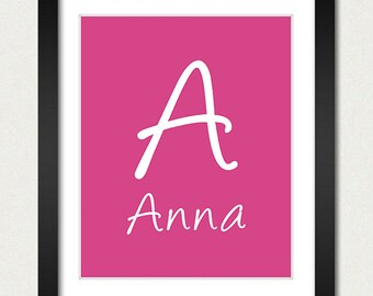 Personalized Name Poster - Alphabet Nursery Print - Choose Font & Color - Childrens Room / Baby Gift Boy / Girl - Pink Green Blue Red More