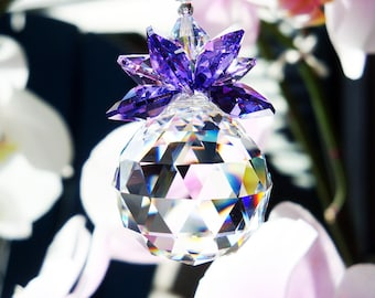 Crystal Suncatcher, Purple Feng Shui Decor, Swarovski Crystal Sun Catcher, Hanging Crystals
