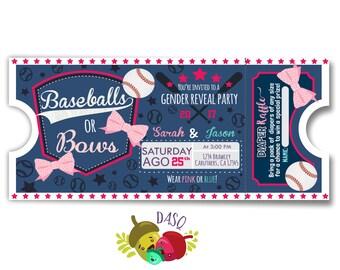Baby gender reveal - Baseballs or Bows - Gender Reveal Idea - baseball shower - baseball gender