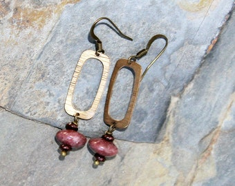 Pink Earrings, Rhodonite Earrings, Rectangle Earrings, Bronze Earrings, Natural Stone Earrings, Geometric Earrings, Gemstone Earrings