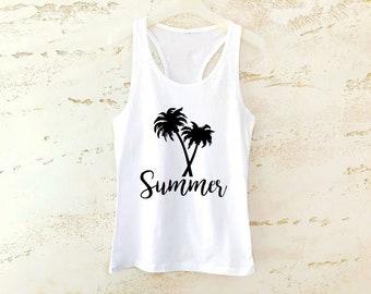 Summer Tank Top, Summer Top, Womens Tank Top, Summer Shirt, Palm Top, Summer Clothing, Palm Tee, Summer Tee, Fashion Tank Top, Trendy Top