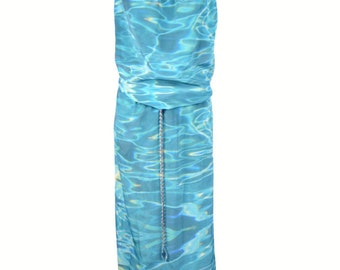 Water Print Single-Panel Silk Slip Dress - Full Length Column Dress with Silver Chain Belt and Straps