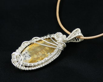 Wire Wrapped Agate Pendant, Natural Gemstone, Beige and Light Brown, Oval, Handmade Item, 30x70 mm  Centerpiece, Silver Plated Copper Wire