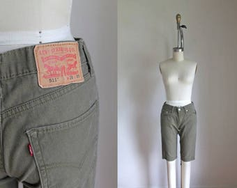 "vintage levis shorts - 511 olive green cutoffs / 28"" x 30"" size S"