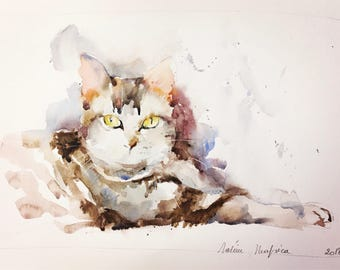 "Original watercolor - Free shipping ""cat tabby tabby""(couleur poil félin douceur compagnon watercolor painting cat)"