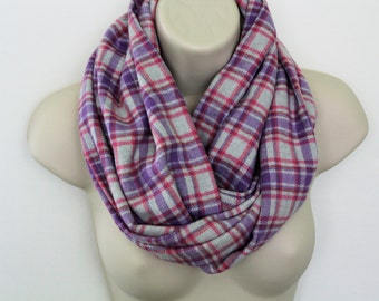 grey and lavender infinity scarf, flannel Infinity Scarf -Circle Scarf -plaid Loop Scarf, Eternity Scarf, Fall Scarf, Winter Scarf
