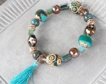 Teal bracelet, tassel bracelet, statement bracelet, stacking bracelet, stretch bracelet, gypsy bracelet, chunky bracelet