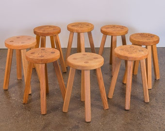Vintage American Craft Oak Dining Stools in the Style of Charlotte Perriand