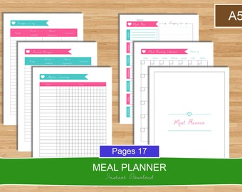 A5 Meal Planner Set, Menu planning Printable planner set, A5 meal planner, A5 size planner, Menu planner, Meal PDF Planner, Instant Download