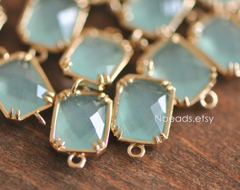 10pcs Seafoam Green Crystal Connector 16mm, Gold plated Brass Frame, Square Bezel Glass Connector (GB-007)