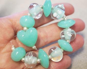 12 Handmade Lampwork Glass Beads - Soft Green